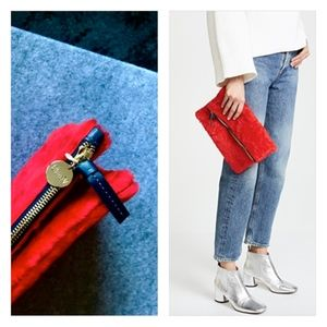 Clare V. Fold Over Shearling Clutch Bag